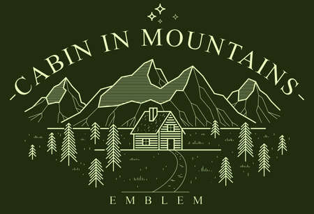 Cabin in mountains linear vector nature emblem on dark, log cabin cottage for rest in pine forest, holidays and vacations theme line art drawing Illustration
