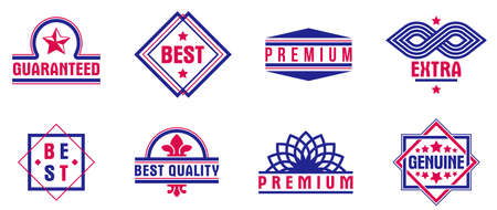 Badges and logos collection for different products and business, premium best quality vector emblems set, classic graphic design elements, insignias and awards.