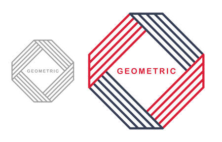 Geometric vector line art  isolated on white, abstract linear contemporary style symbol, geometrical shape emblem, business corporate branding graphic design element.