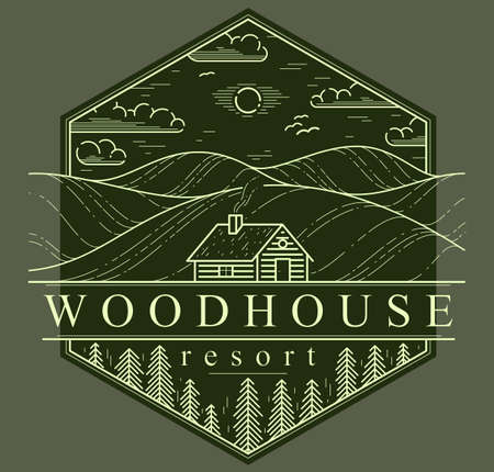 Cabin in grasslands and meadows with pine trees linear vector nature emblem on dark, log cabin cottage for rest, holidays and vacations theme line art drawing, woodhouse resort
