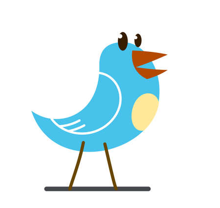 Little cute bird standing and looking funny cartoon flat vector illustration isolated on white. Illustration