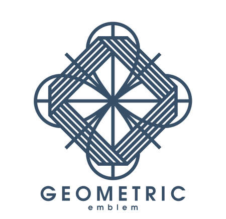 Abstract geometric flower shaped floral vector symbol isolated on white, line art geometrical shape emblem or icon, best for boutique or cosmetic or hotel or spa or jewelry