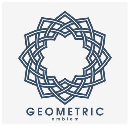 Abstract geometric flower vector symbol isolated on white, line art geometrical shape emblem or icon, best for boutique or cosmetic or hotel or spa or jewelry