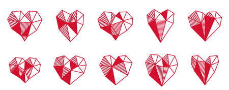 Low poly geometric hearts vector icons set, graphic design 3d love theme elements, polygonal dimensional hearts.