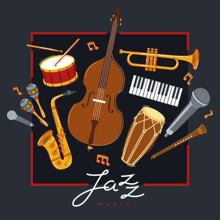 Jazz music band poster different instruments vector flat illustration on dark, live sound festival or concert advertising flyer or banner, play different instruments orchestra.
