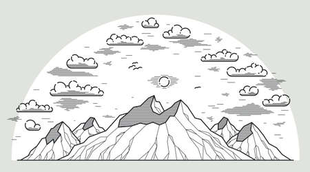 Mountains range linear vector illustration isolated on white, line art drawing of mountain peaks wilderness wanderlust theme, beautiful nature landscape.