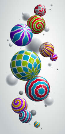 Realistic glossy spheres vector illustration smartphone background, abstract wallpaper for phone with beautiful balls with patterns and depth of field, 3D globes design concept art.