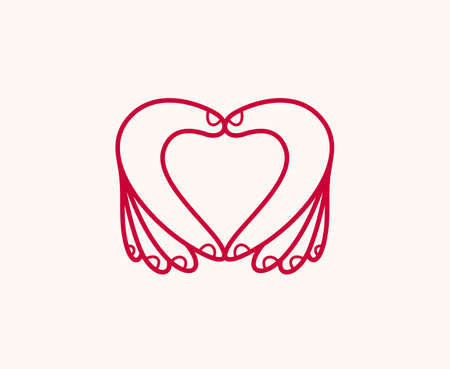 Hearts with hands  icon, heart hand fingers sign, hands giving love, showing love, care and support, protection or relationship concept. Illustration