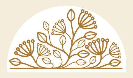 Luxury classic style elegant vector floral emblem isolated on white background, boutique or hotel logo, leaves and branches linear badge.