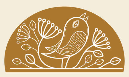 Beautiful bird on a branch linear floral vector design on dark, leaves elegant text divider border element for layouts, fashion style classical emblem, luxury vintage graphics.