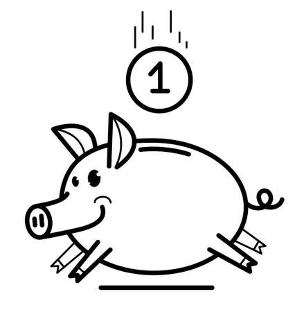 Piggy bank cute and funny pig vector illustration isolated on white.