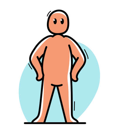 Funny cartoon man standing confident vector flat style illustration isolated on white, cute and positive small guy drawing or icon.