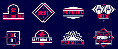 Badges and  dark collection for different products and business, premium best quality vector emblems set, classic graphic design elements, insignias and awards. Illustration