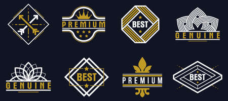 Premium best quality vector emblems set over dark, badges  collection for different products and business, classic graphic design elements, insignias and awards. Illustration