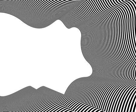 Abstract vector 3D lines background, black and white curves linear perspective dimensional optical pattern, blank copy space for text. Illustration