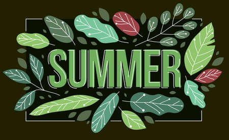 Big summer word surrounded by green fresh leaves of European forests vector flat style illustration on dark, holidays and vacations theme concept. Illustration