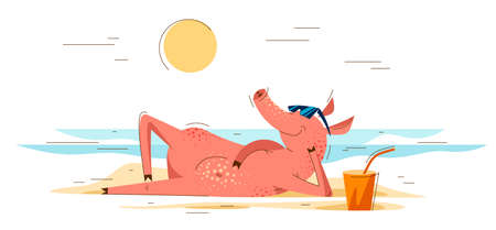 Funny cartoon pig lays on a beach of the sea in summer vacations and relaxing resting vector illustration, happy enjoying animal swine character drawing.