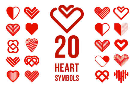 Hearts geometric linear icons or logotypes set, graphic design modern style elements, love care and charity geometrical symbols collection. Illustration