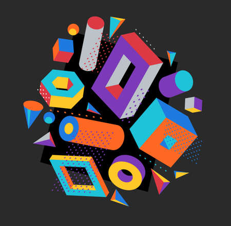 Colorful 3D shapes vector composition on dark background, bright positive dimensional design elements, boxes and cylinders and other shapes simple stylish illustration.