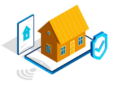 Smart home IOT concept electronics modern house vector isometric illustration, smart security, app distant automated future technology.