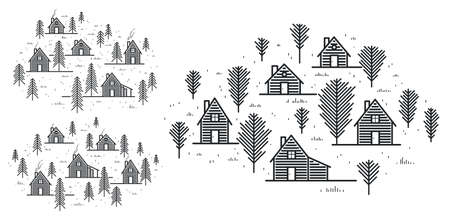 Rural village in woods linear vector illustration isolated on white, wooden houses in trees forest line art drawing, countryside log cabins cottages, travel in wilderness for rest. Vetores