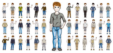 Little early teen boys children happy and cute standing in full body length isolated over white vector illustrations big set, beautiful little kids diversity big collection of character drawings.