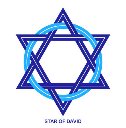 Star of David ancient Jewish symbol made in modern linear style vector icon isolated on white, hexagonal star emblem.
