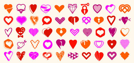 Collection of hearts icons set, heart shapes of different styles and concepts symbols, love and care, health and cardiology, geometric and low poly.