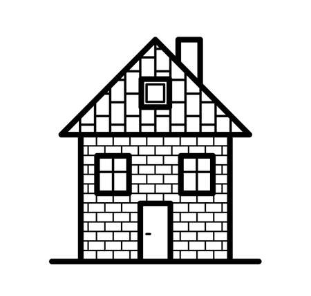 Small house vector flat icon isolated on white.