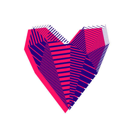 Low poly pattern geometric heart vector icon  , graphic design 3d love theme element, polygonal dimensional heart.
