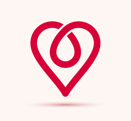 Heart geometric linear icon or logotype, graphic design modern style element, love care and charity geometrical symbol.