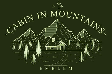 Log cabin wooden house in pine forest over mountain range vector nature emblem on dark, cottage woodhouse for rest in pine forest, holidays and vacations theme line art drawing  .