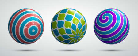 Realistic glossy vector spheres set decorated with pattern, cute balls abstract graphic design elements collection.