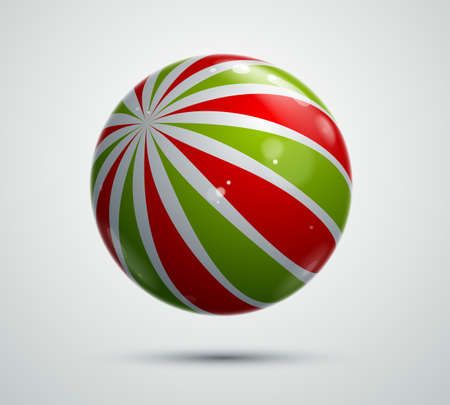 Abstract vector realistic glossy sphere, beautiful festive ball decorated with pattern, graphic design element. Illustration