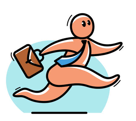 Funny cartoon man running with briefcase like a businessman in hurry and panic vector flat style illustration isolated on white, cute and positive small guy drawing or icon.