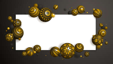 Realistic decorated gold spheres vector illustration with blank paper sheet, abstract background with beautiful balls with patterns and depth of field effect, 3D globes design concept art.