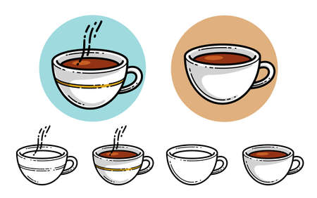 Cup of coffee vector illustration or icon isolated on white, hot beverage at morning, coffee shop, break in work during a day.