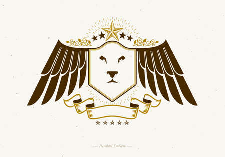 Heraldic coat of arms made in retro design, decorative emblem with wings, wild lion illustration and pentagonal stars Illustration