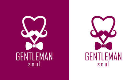 Gentleman heart vector icon  , heart shape with tie mustache and glasses symbol, man club, male hipster style and fashion.
