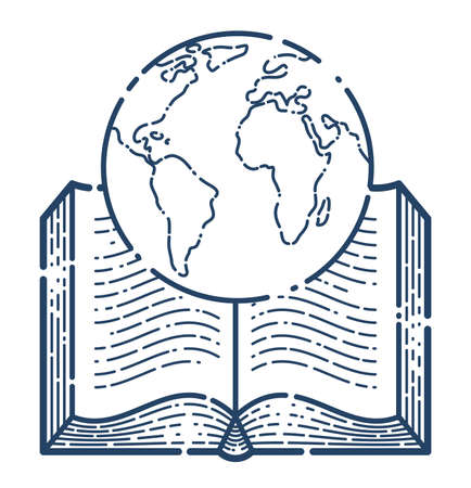 Open book with earth planet vector linear icon, geography or travel literature line art symbol .