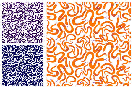Snakes seamless textile set, vector background with a lot of serpents endless texture, stylish fabric or wallpaper design, dangerous poisoned wild animals.