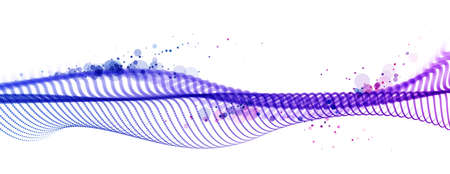 Particles wave big data flow vector abstract beautiful background, technology and science abstraction, 3D airy light mixed colors dots array flying in wavy motion. Illustration
