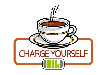 Cup of coffee with battery accumulator sign vector illustration or icon isolated on white, charge yourself concept, wakeup in morning, break in work during a day. Illustration