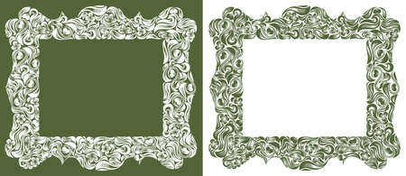 Decorative blank classic style border vector vintage design, floral frame made of leaves and flowers, luxury beautiful background, invitation or greeting card with place for text. Illustration