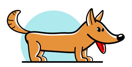 Funny cartoon dog standing vector flat style illustration isolated on white, cute and adorable domestic animal friend. Illustration