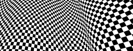 Checker pattern mesh in 3d dimensional perspective vector abstract background,  race flag texture, black and white checkered illustration. Illustration