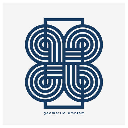 Abstract geometric  isolated on white, linear graphic design modern style symbol, line art geometrical shape emblem or icon. Illustration