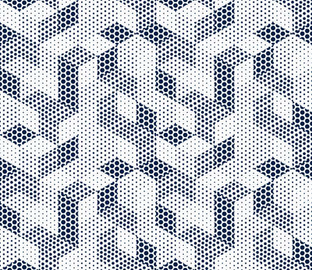 3D dotted cubes seamless pattern vector background, dots dimensional blocks, architecture and construction, geometric design.