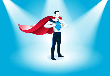 Businessman standing on podium vector illustration, success and career progress concept, leadership competition ambitions, gorgeous handsome business man.