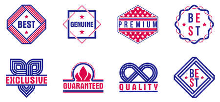 Badges collection for different products and business, premium best quality vector emblems set, classic graphic design elements, insignias and awards.